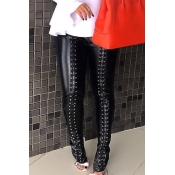 Lovely Fashion Mid Elastic Waist Lace-up Black PU