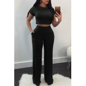 Lovely Casual Round Neck Short Sleeves Black Cotton Two-Piece Pants Set