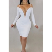 Lovely Sexy Deep V Neck Dew Shoulder White Milk Fiber Knee Length Dress