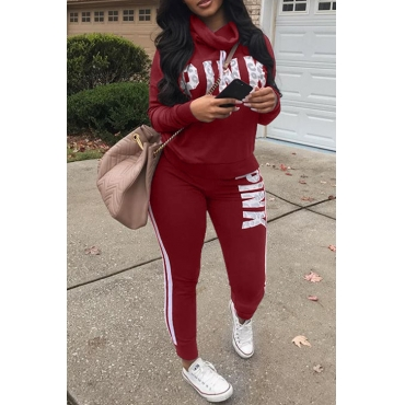 Casual Heaps Collar Striped Letters Printed Red Qmilch Two-Piece Pants Set
