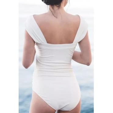 Lovely Sexy Bateau Neck Fold Design White Spandex One-piece Swimwears