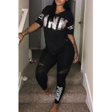Lovely Casual Hooded Collar Letters Printed Black Blending Two-Piece Pants Set