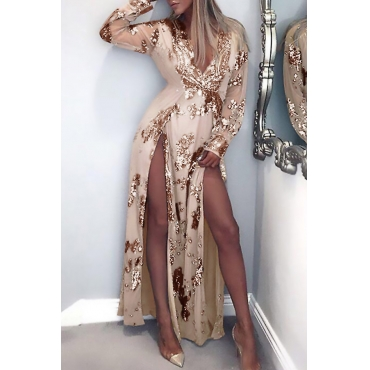 Lovely Sexy V Neck Sequins Decoration Side Slit Gold Polyester Ankle Length Dress