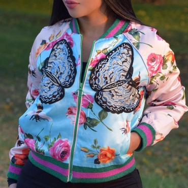 Lovely Fashion V Neck Flowers And Birds Printed Blue Polyester Zipped Jacket