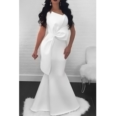 Lovely Elegant V Neck Irregular Patchwork White Healthy Fabric Maxi Dress