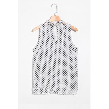 Lovely Fashion V Neck  Dot Printed White Chiffon Tank Top