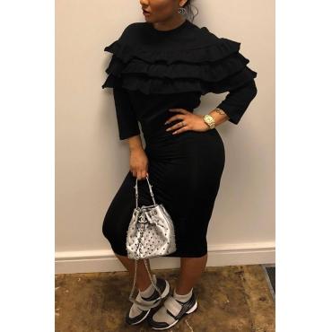 Lovely Sexy Round Neck Falbala Design Black Polyester Sheath Knee Length Dress