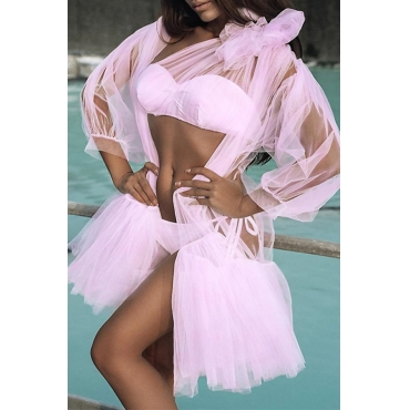 Lovely Sexy Lace-up Pink Polyester Two-piece Swimwears(With Cover-Up)