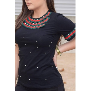 Lovely Casual Round Neck Short Sleeves Pearl Decoration Black Cotton T-shirt