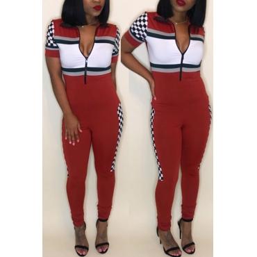 Lovely Stylish V Neck Patchwork Red Cotton Blends One-piece Jumpsuits