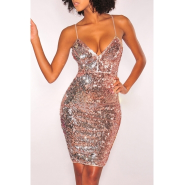 Lovely Vintage V Neck Sequined Decorative Gold Polyester Sheath Mini Dress