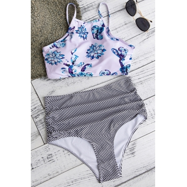 Lovely Sexy Printed White Polyester Two-piece Swimwears