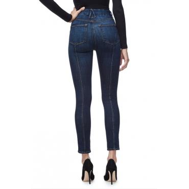Lovely Fashion Mid Waist Slit Hem Deep Blue Denim Zipped Jeans