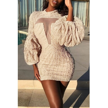 Lovely Sexy Round Neck Puff Sleeves Chest See-Through Apricot Polyester Sheath Mini Dress