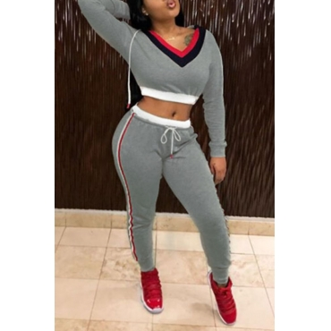 Lovely Fashion Hooded Collar Striped Grey Polyester Two-Piece Pants Set