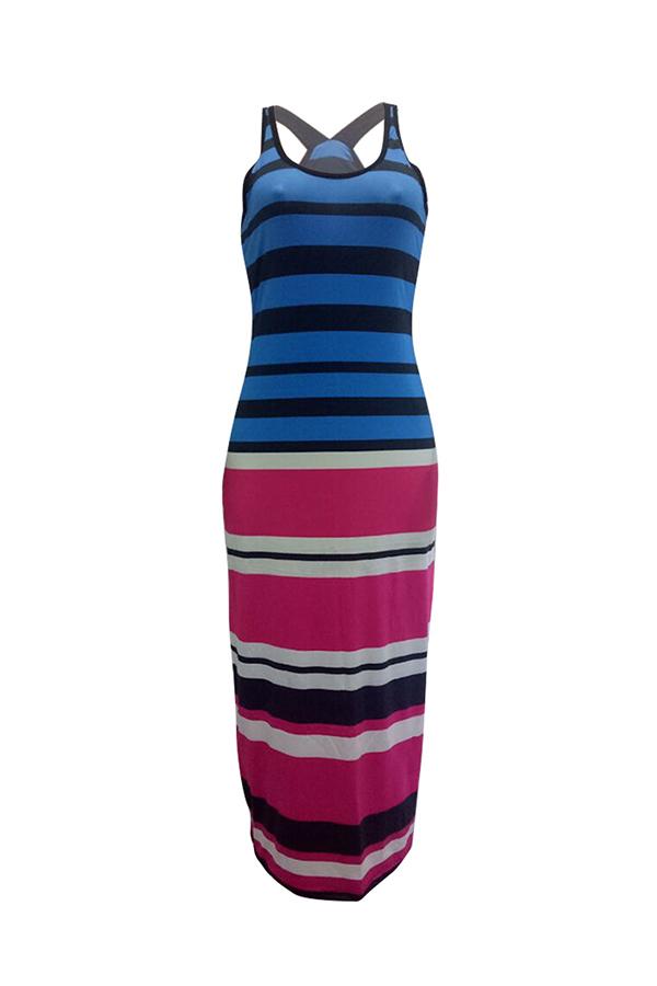 Lovely Casual U Neck Sleeveless Striped Patchwork Polyester Ankle Length Dress