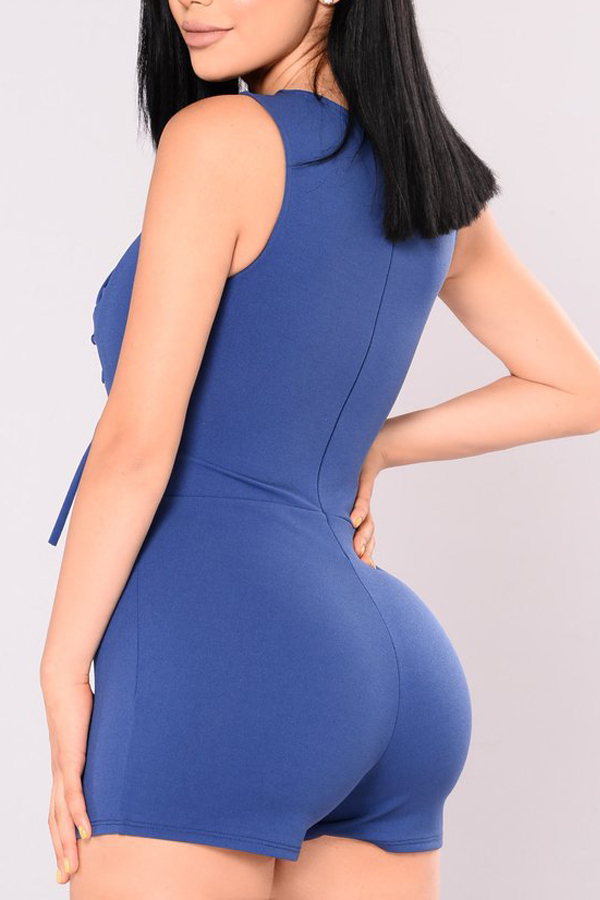 Lovely Casual V Neck Lace-up Blue Polyester One-piece Short Jumpsuits