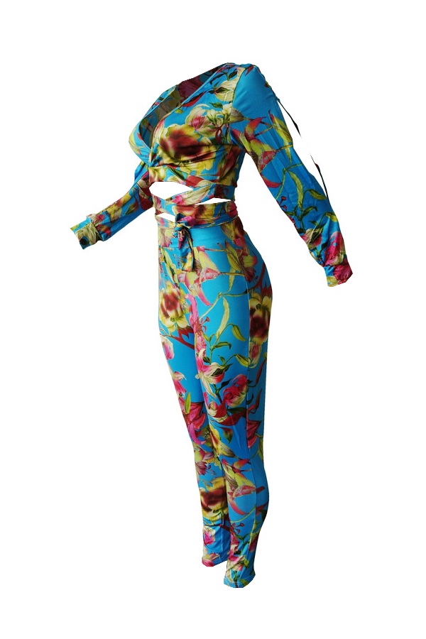 Encantadora E Elegante Fita Pescoço De Pescoço Floral Impressa Fenda Azul Qmilch Conjunto De Calças De Duas Peças