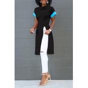 Lovely Fashion Round Neck Short Sleeves Side Slit Black Polyester T-shirt