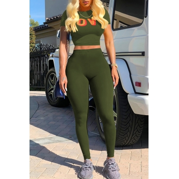 Lovely Casual Round Neck Short Sleeves Letters Printed Army Green Cotton Blends Two-Piece Pants Set