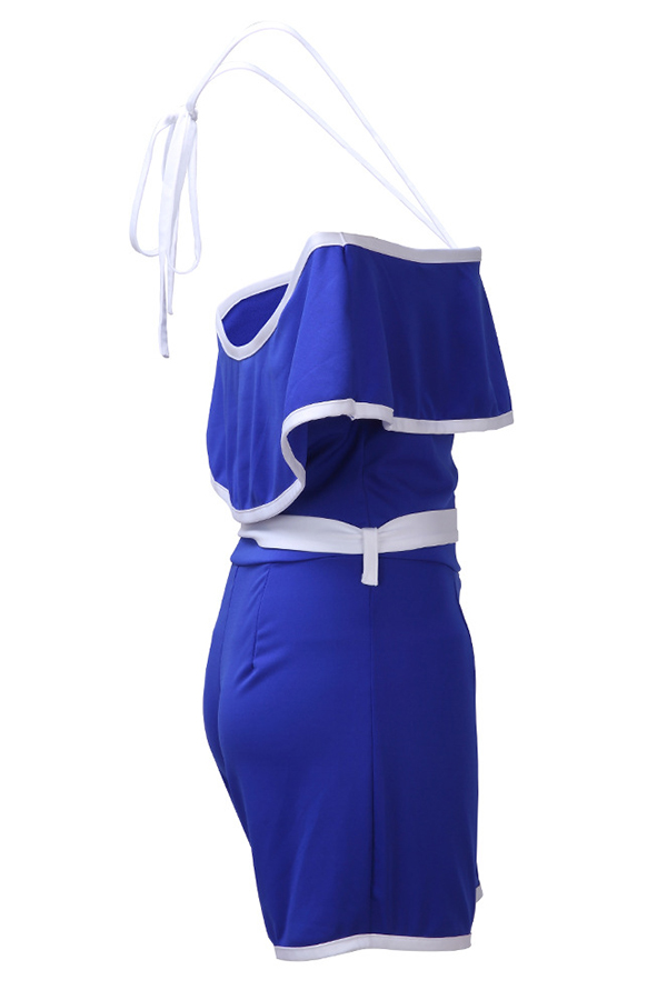 Lovely Casual Bateau Neck Ruffle Design Blue Polyester One-piece Short Jumpsuits(With Belt)