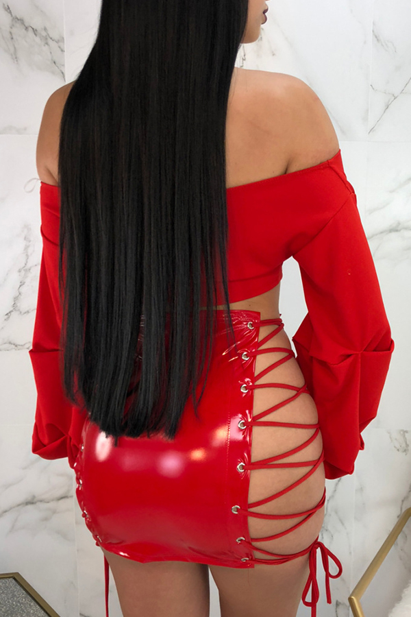 Lovely Sexy Lace-up Hollow-out Red Leather Sheath Mini Skirt