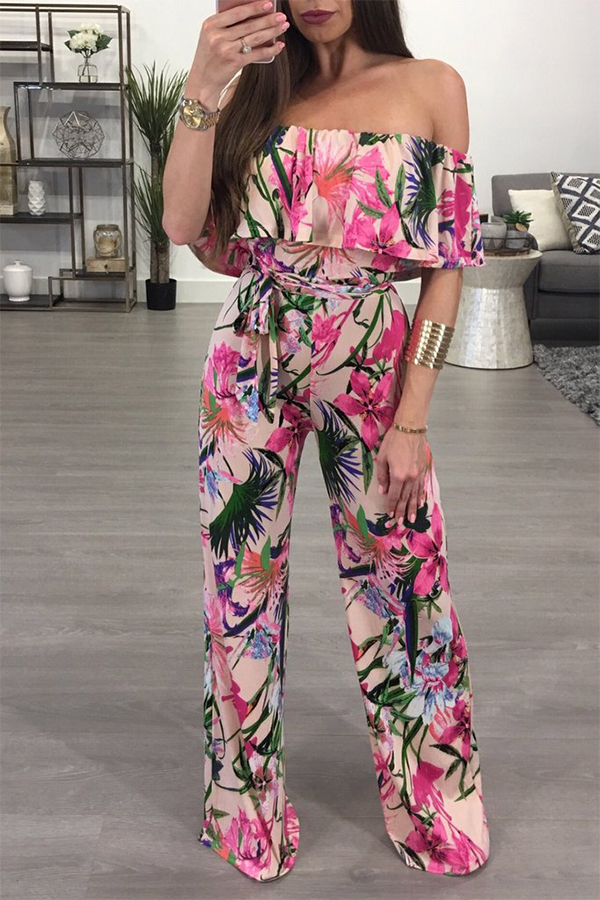 Lovely Trendy Bateau Neck Ruffle Floral Printed Pink Polyester One-piece Jumpsuits(With Belt)