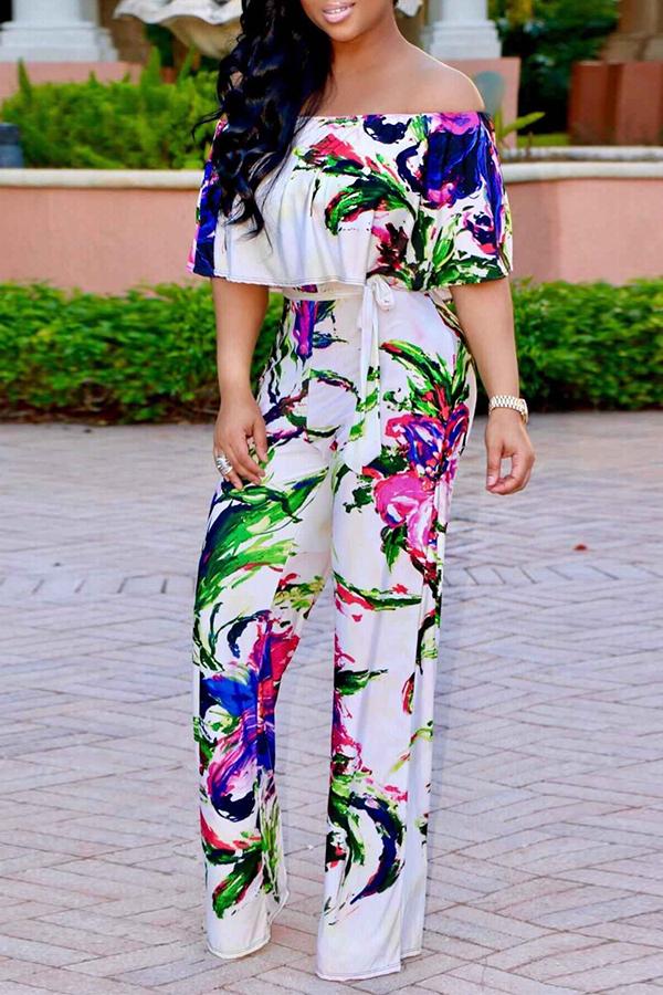 Schöne Trendige Bateau Hals Rüschen Floral Bedruckte Weiße Polyester Einteilige Overalls (mit Gürtel)