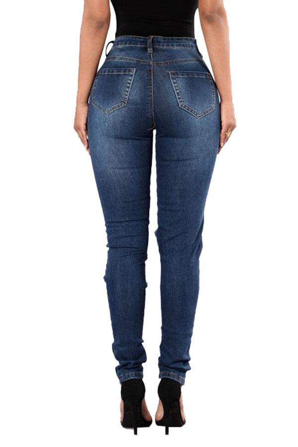 Lovely Fashion Mid Waist Broken Holes Deep Blue Denim Zipped Jeans