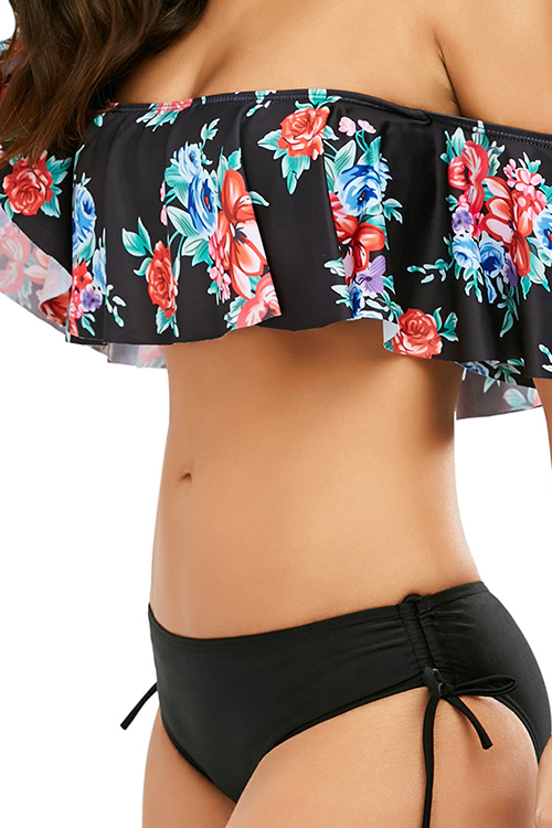 Lovely Sexy Bateau Neck Floral Printed Ruffle Black Polyester Two-piece Swimwears