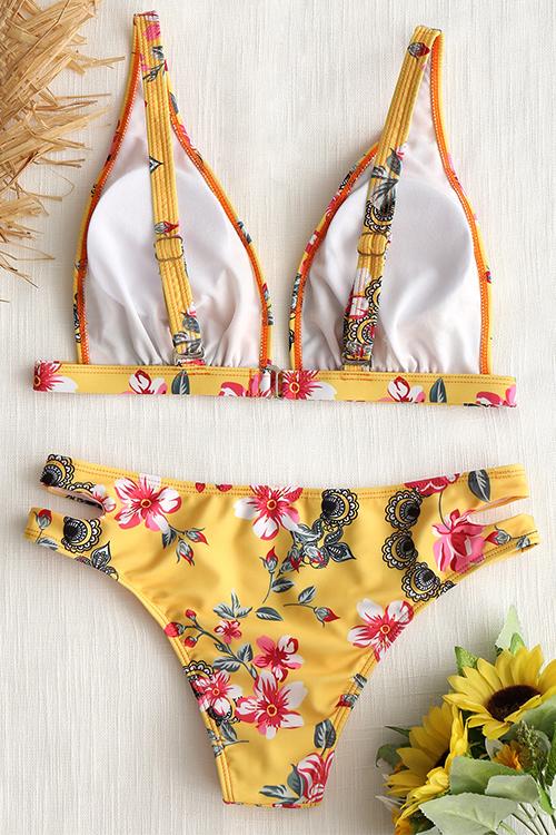 Reizendes Reizvolles Backless Blumen Druckte Gelbe Polyester Zweiteilige Swimwears