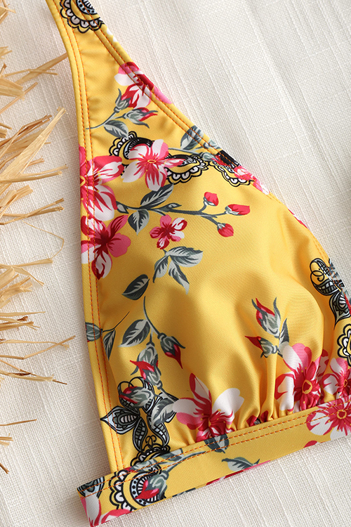 Lovely Sexy Backless Floral Printed Yellow Polyester Two-piece Swimwears