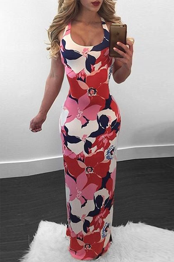 Lovely Sexy U Neck Backless Non Positioning Printing Pink Polyester Ankle Length Dress