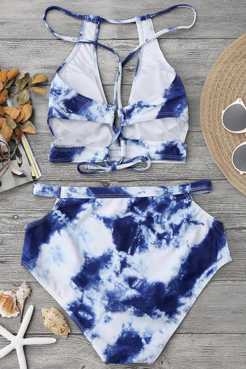 Costumi Da Bagno Sexy A Due Pezzi In Poliestere Blu + Spandex Con Stampa Nuvola Vuota