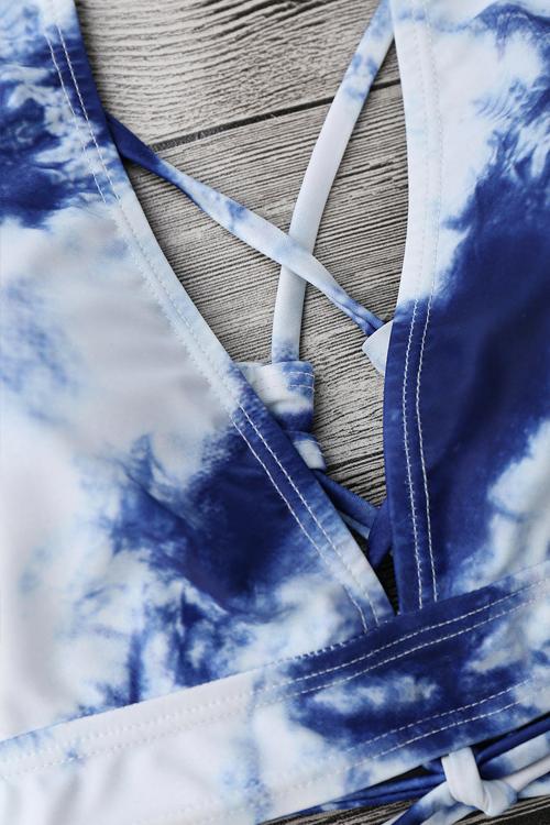 Симпатичный Сексуальный Вышитый Вышитый Облако Печатный Синий Полиэстер + Спандекс Двухкомпонентные Купальники