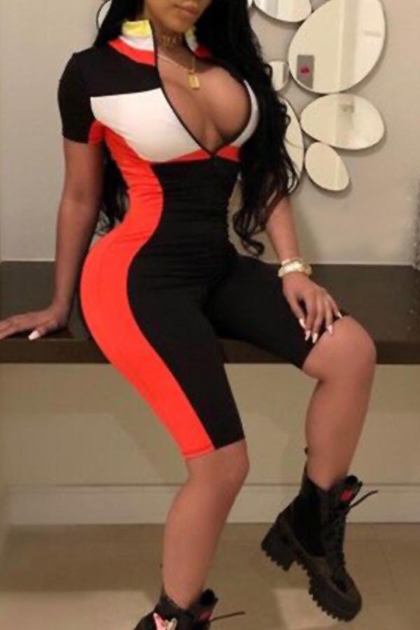 Lovely Sexy Mandarin Collar Patchwork Black Blending One-piece Short Jumpsuits