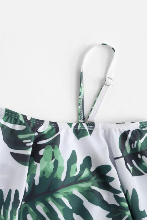 Lovely Sexy Bateau Neck Flounce Leaf Printed Green Spandex One-piece Swimwears