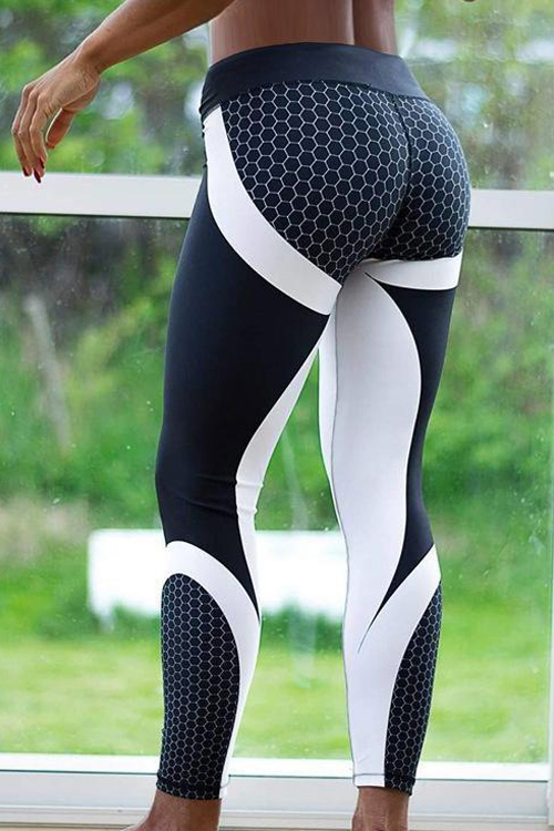 Lovely Fashion High Waist Geometric Printed Black Polyester Leggings
