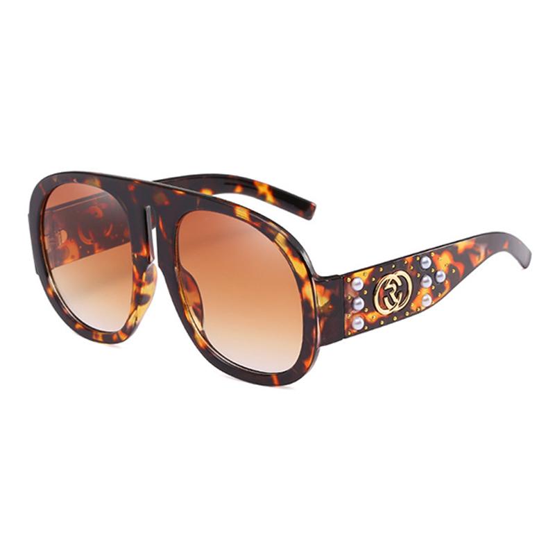 Linda Moda Rebite Decorativo Leopardo PC Óculos De Sol