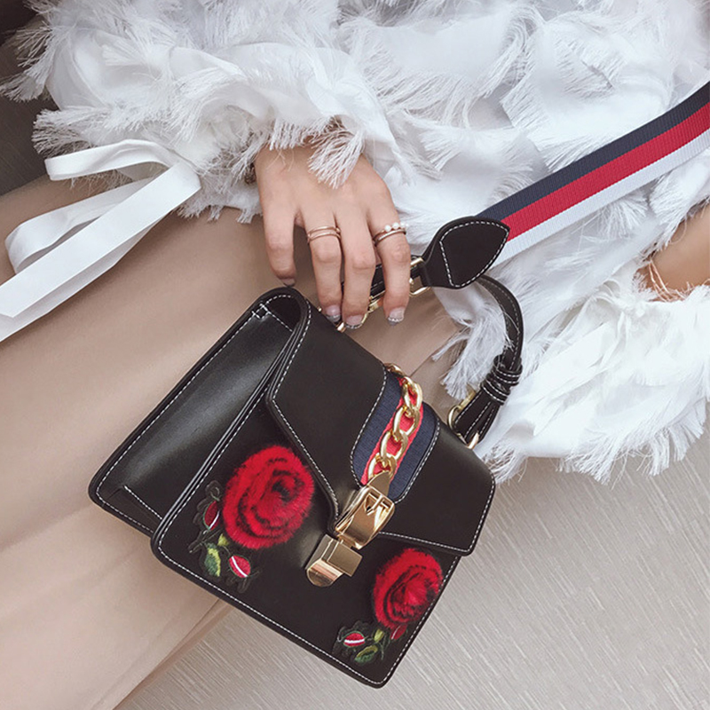 Bolsos Decorativos Florales De La PU Del Apretón Negro Floral Hermoso De La Moda