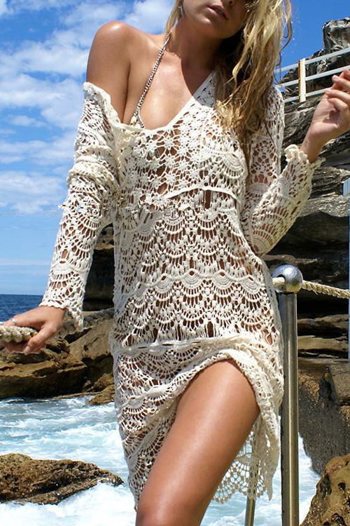 Lovely Sexy V Neck Lace Hollow-out Beige Polyester+Spandex Cover-Ups