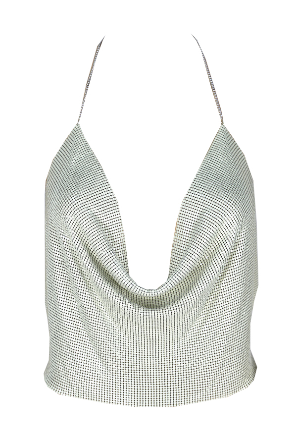 Lovely Sexy V Neck Backless Sequins Decoration White Polyester Tank Top(Without Accessories)