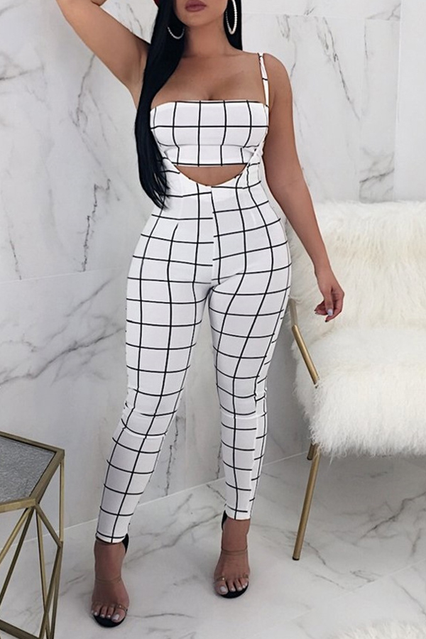 Lovely Sexy Bateau Neck Striped White Twilled Satin Two-Piece Pants Set