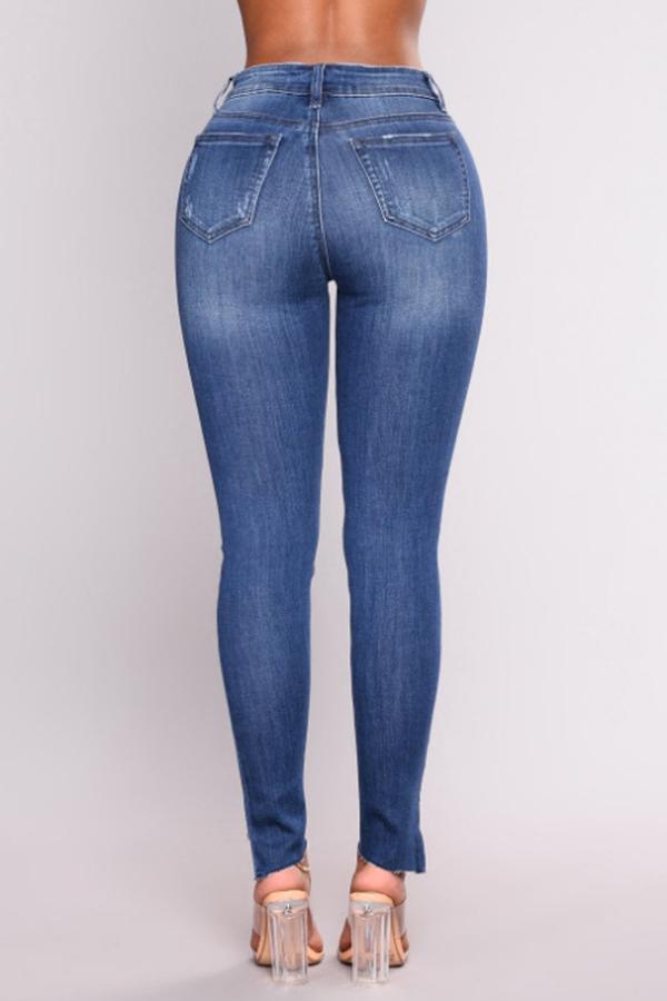 Bella Moda Metà Fori Rotti Blu Jeans Con Zip Jeans