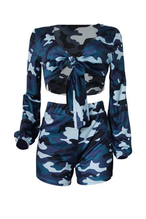 Bella Moda Scollo A V Maniche Lunghe Nodo Camo Blending Set Bicolore Pantaloncini