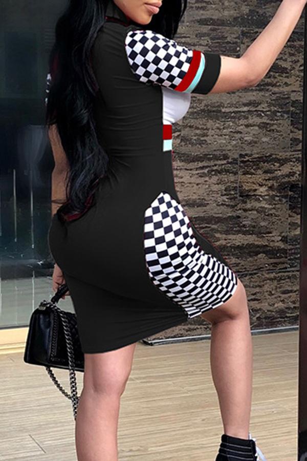 Mini Vestito Sexy Del Fodero Del Tessuto Sano Nero Del Rappezzatura Del Collare Del Mandarino Sexy Adorabile