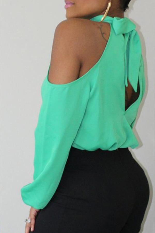 Camisas De Poliéster Verde Con Hombros Descubiertos De Moda Preciosa