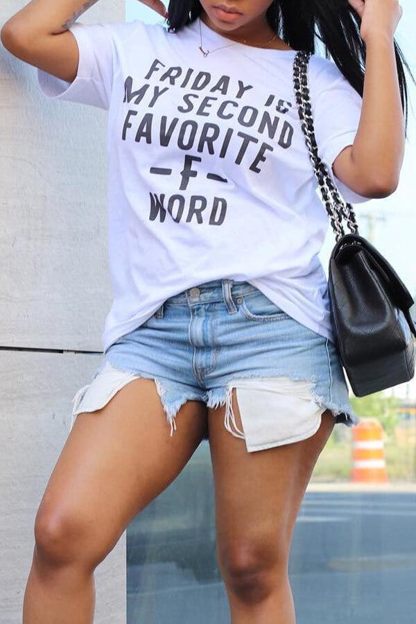 Camiseta De Poliéster Blanca Impresa Letra De Cuello Redondo Lovelycasual
