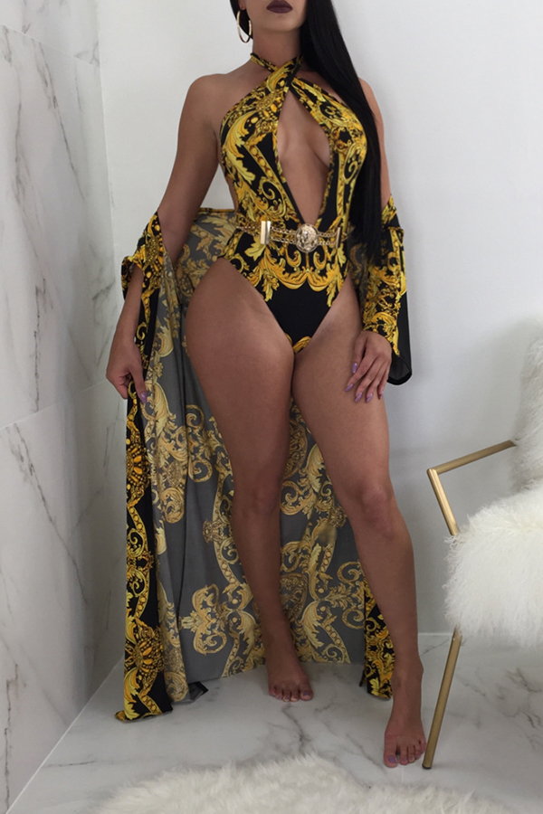 Lovely Sexy V Neck Printing Black One-piece Swimsuit(With Cover-up)