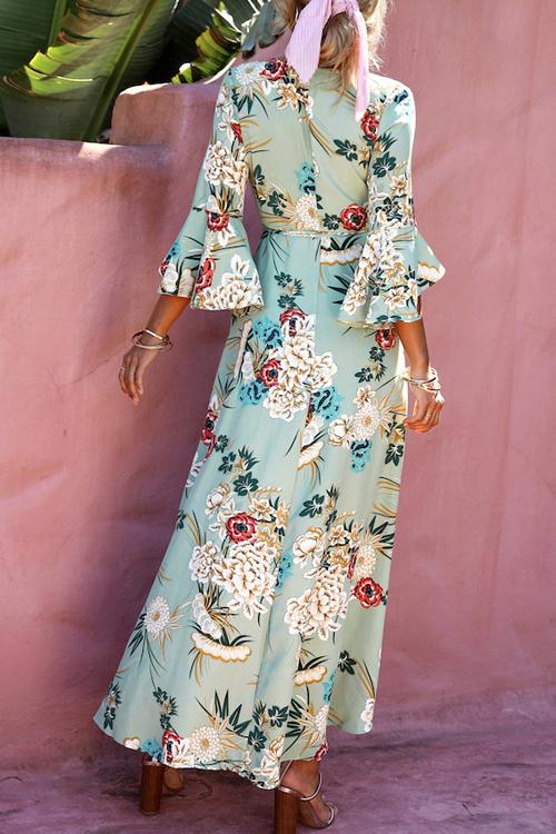 Lovely Fashion V Neck Flared Sleeves Non Positioning Floral Printed Light Green Blending Mid Calf Dress